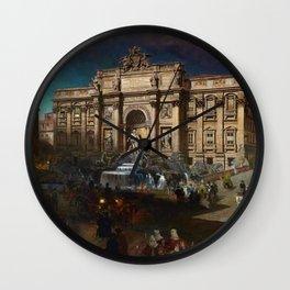 La Fontana di Trevi (Fountain of Trevi) at Moonlight by Oswald Achenbach Wall Clock