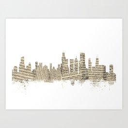 Chicago Illinois Skyline Sheet Music Cityscape Art Print