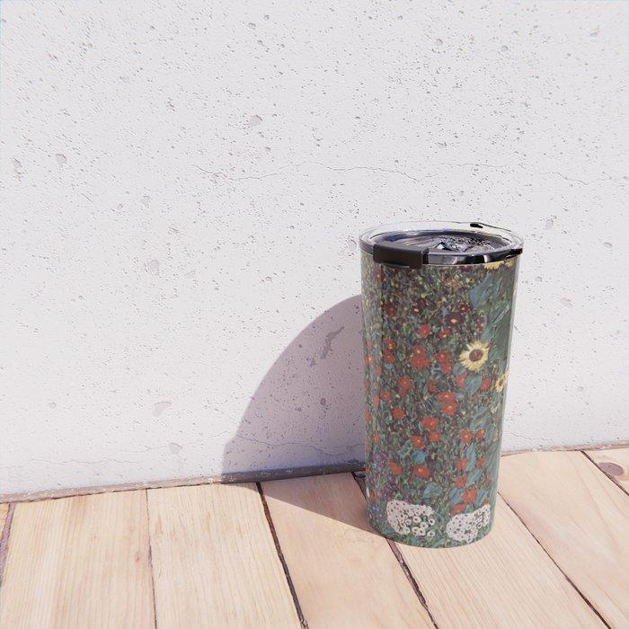 Country Garden with Sunflowers - Gustav Klimt Travel Mug