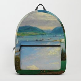 1872 Classical Masterpiece Landscape 'Newburgh on the Hudson River' by George Harvey Backpack