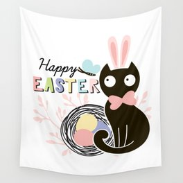 Happy Easter - Cute Black Cat with pink Bunny ear and blue Spring butterfly Wall Tapestry