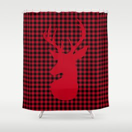 Red Plaid Deer Stag Design Shower Curtain