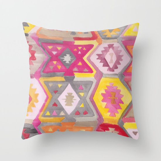 Kilim Me Softly in Pink Throw Pillow