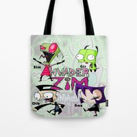 invader zim Tote Bags featuring Invader Zim best decoration ideas by customgift