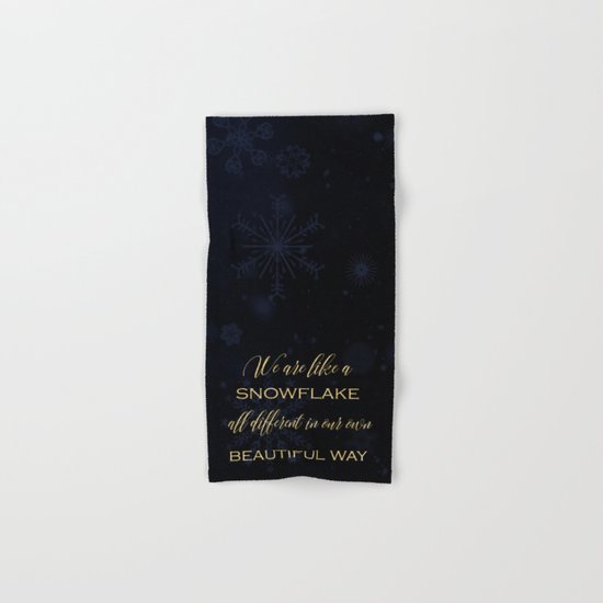 We are like a snowflake - gold glitter Typography on dark backround Hand & Bath Towel