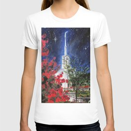 Atlanta Georgia LDS Temple Night Flowers T-shirt