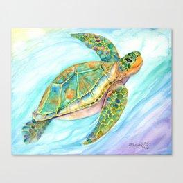 Swimming, Smiling Sea Turtle Canvas Print