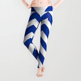 Smalt (Dark powder blue) - blue color - Zigzag Chevron Pattern Leggings
