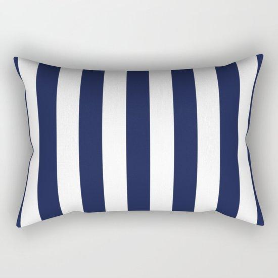 Maritime pattern- darkblue stripes on clear white- vertical Rectangular Pillow
