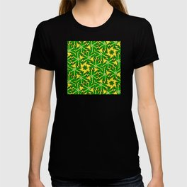 Abstract geometric infinite celestial circle star sun and flower burst pattern design in multicolors T-shirt
