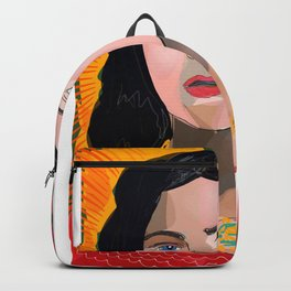 Portrait of a Woman in red Expressionism Art Backpack