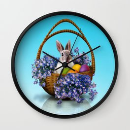 Easter Bunny Basket Wall Clock