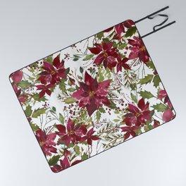 Poinsettia Flowers Picnic Blanket