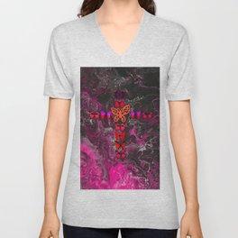 Pink Fire Cross Unisex V-Neck