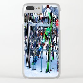 Ski Party - Skis and Poles Clear iPhone Case