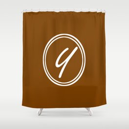 Monogram - Letter Y on Chocolate Brown Background Shower Curtain