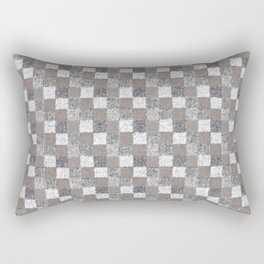 Rustic Charcoal Beige and Cream Patchwork Rectangular Pillow