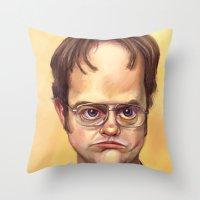 dwight schrute Throw Pillows featuring Mr. Dwight K Schrute by Ben Anderson
