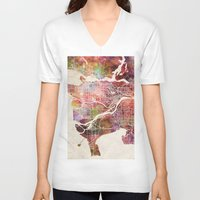 vancouver V-neck T-shirts featuring Vancouver by MapMapMaps.Watercolors
