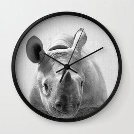 Baby Rhino - Black & White Wall Clock