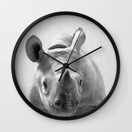 Baby Rhino - Black & White Wall Clock