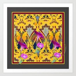 Charcoal Grey & Fuchsia Floral Yellow Butterflies Art Art Print