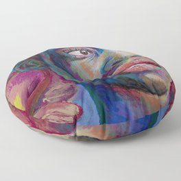 Woman with Poppies Floor Pillow