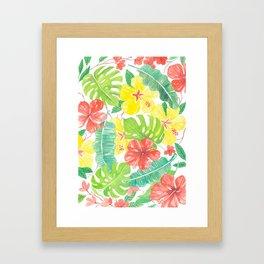 Tropical garden, hibisus, plumeria and palm leaves Framed Art Print