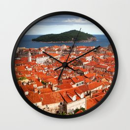 Old Town of Dubrovnik and Lokrum Island Wall Clock