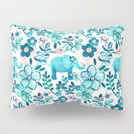 Dusty Pink, White and Teal Elephant and Floral Watercolor Pattern Pillow Sham