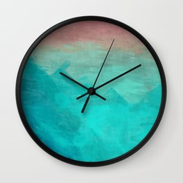 Sunset Over Lagoon Abstract Painting Wall Clock