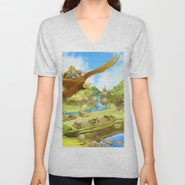 Flying On Polly Over an Enchanted Land Unisex V-Neck
