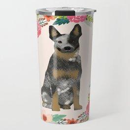 Australian Cattle Dog blue heeler floral wreath dog gifts pet portraits Travel Mug