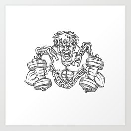 Buffed Athlete Dumbbells Breaking Free From Chains Drawing Art Print