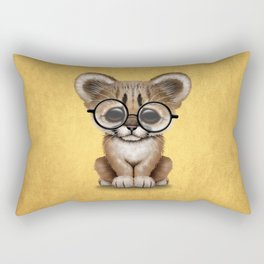 Cute Cougar Cub Wearing Reading Glasses on Yellow Rectangular Pillow