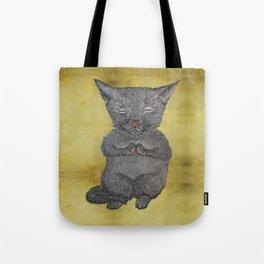 Cat Practicing Mindfulness Tote Bag