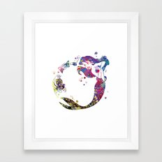 The Little Mermaid Ariel Watercolor  Framed Art Print