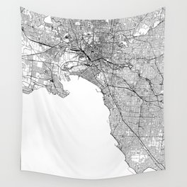 Melbourne White Map Wall Tapestry