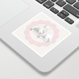 Sleeping Lamb in Pink Lace Wreath Sticker