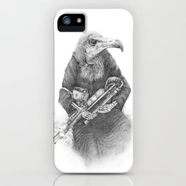 Hooded Vulture with Uilleann Pipes by Pia Tham iPhone Case