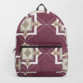Mulberry and Taupe Mosaic Pattern Backpack