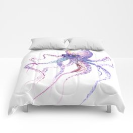 Octopus, soft purple pink aquatic animal design Comforters