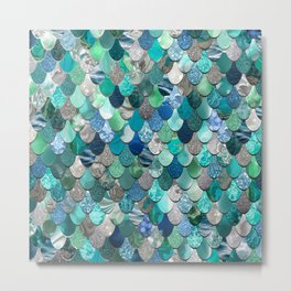 Mermaid Pattern, Sea,Teal, Mint, Aqua, Blue Metal Print