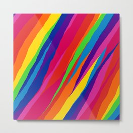 Wonky Rainbow Stripes Metal Print