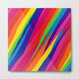 Wonky Rainbow Stripes Metal Print