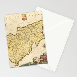 Vintage Cyprus Map (1665) Stationery Cards