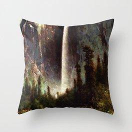 Bridal Veil Falls, Yosemite by Thomas Hill Throw Pillow