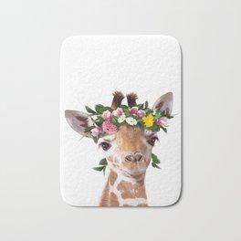 Baby Giraffe With Flower Crown, Baby Animals Art Print By Synplus Bath Mat
