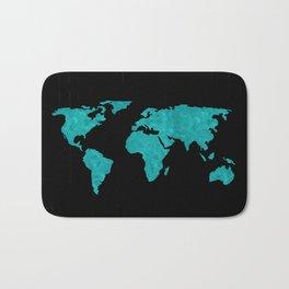 Teal Cyan Metallic Foil Map on Black Bath Mat
