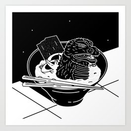 Godzilla Ramen Kunstdrucke